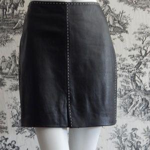 INC Genuine Black Leather Skirt 10P